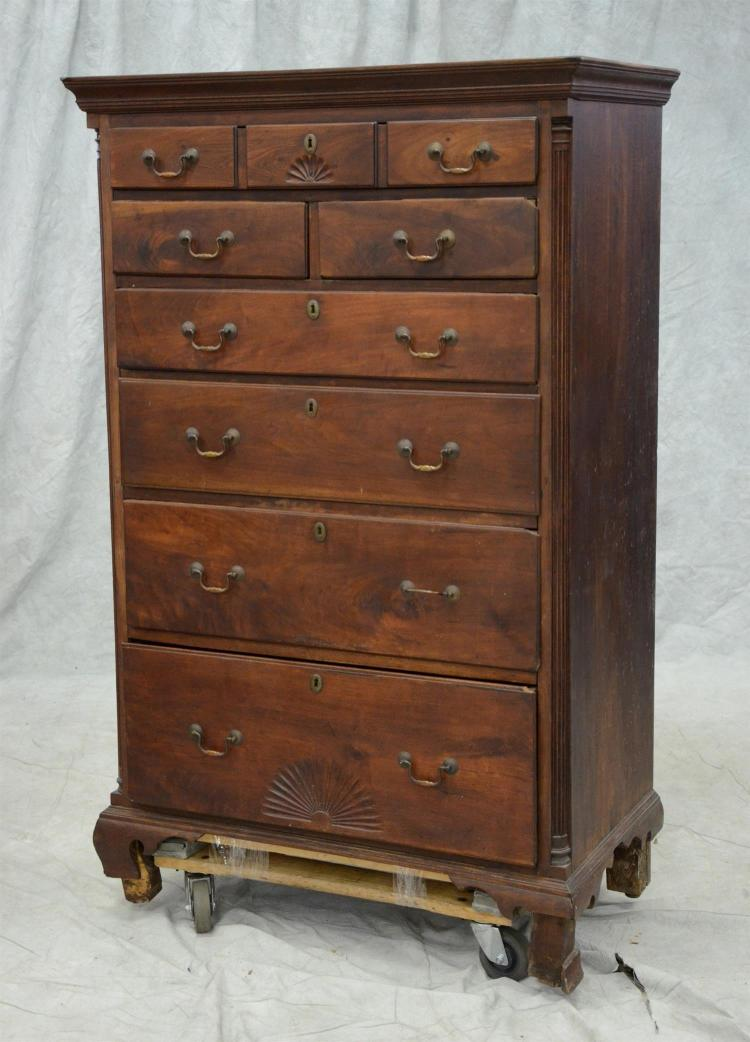 Walnut Chippendale tall chest,  top drawer with 3 false fronts over 2 short over 4 long graduated lipped drawers, inset fluted quart...