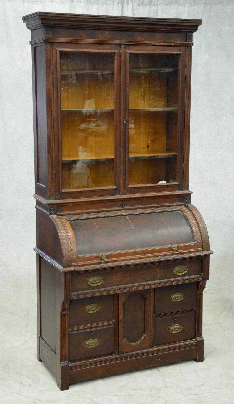 Walnut Victorian cylinder roll secretary desk, 38