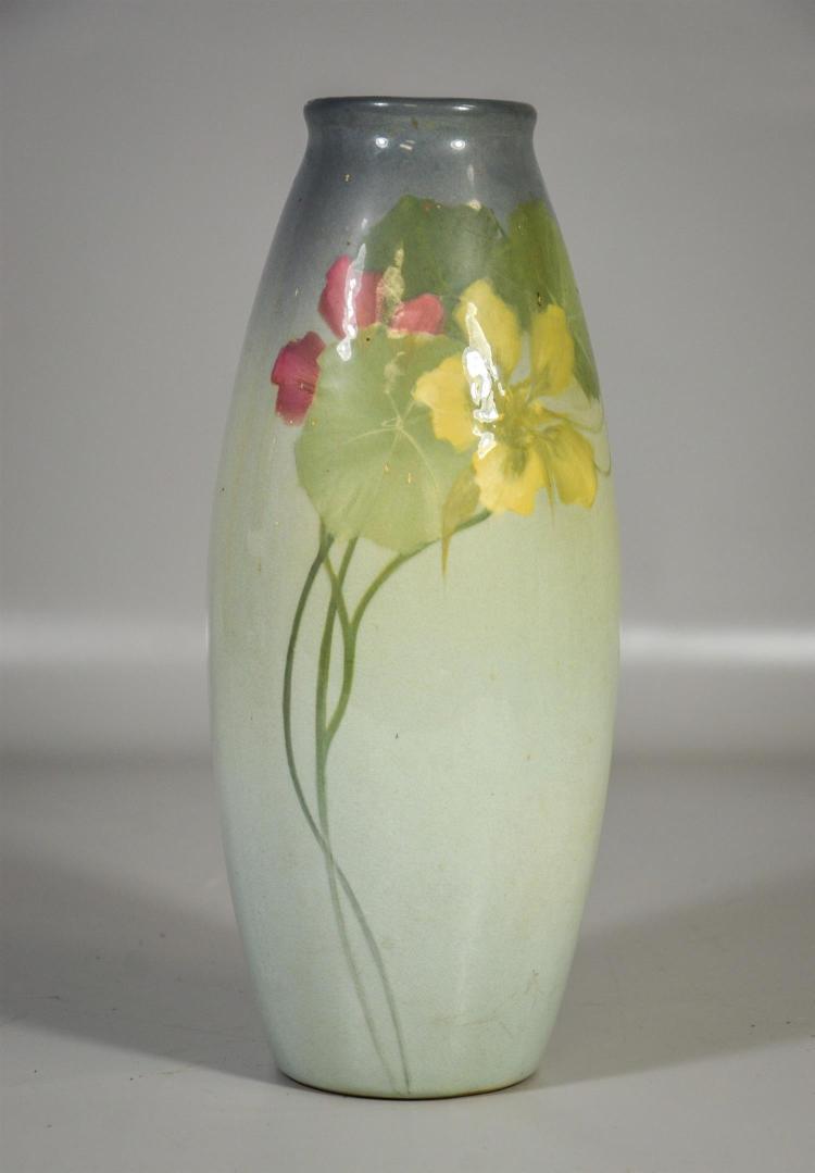 Weller Eocean floral decorated vase, artist signed, pale green and violet, 12 3/4
