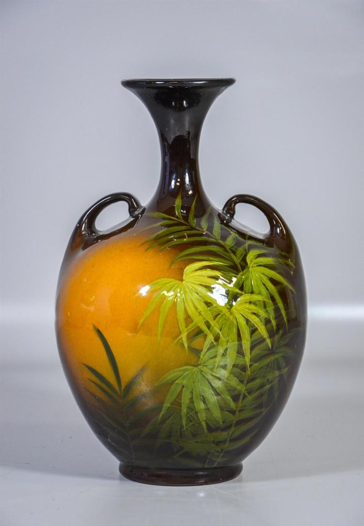 Weller Louwelsa double handled fern vase signed Mitchell,  12 1/2