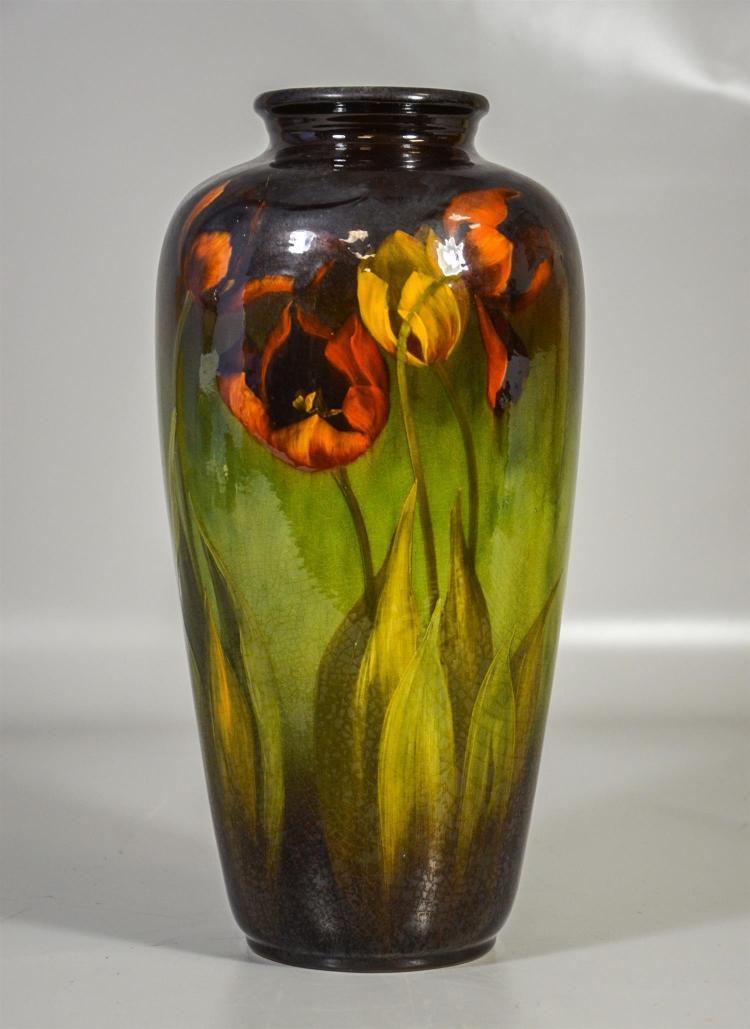 Weller Louwelsa tulip vase signed Albert Haubrich, 14 1/4