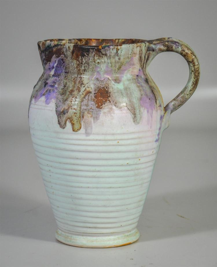 Weller Ware drip glaze pitcher with coiled body, artist signed (Claude) Leffler, 8