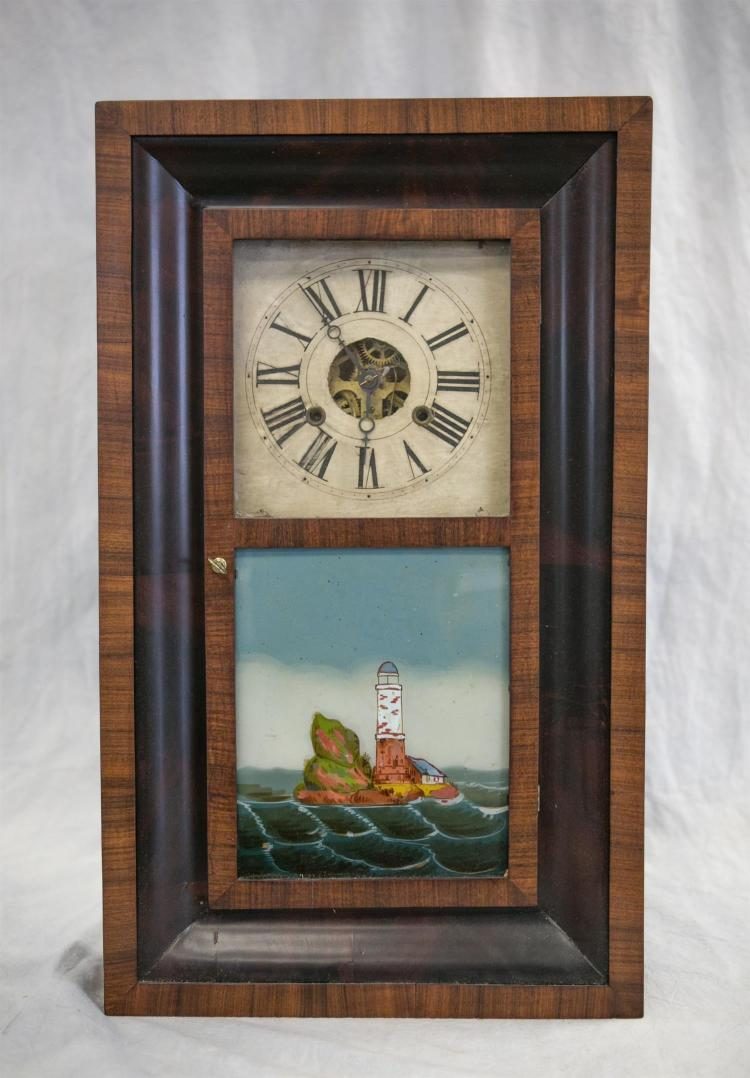 William S Johnson mahogany and rosewood shelf clock, good paper label, wood dial, restored lower tablet with lighthouse, with weight...