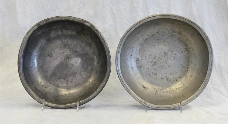 (2) 18th c pewter basins, 10 1/2