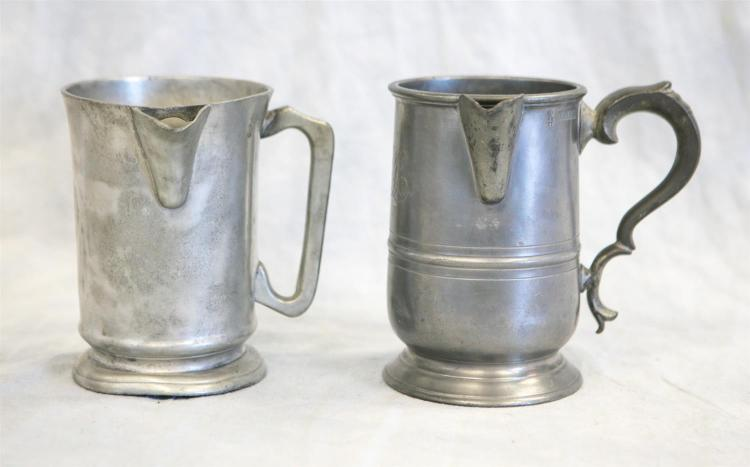 (2) quart pewter side handle measures, 19th c, 6 1/2