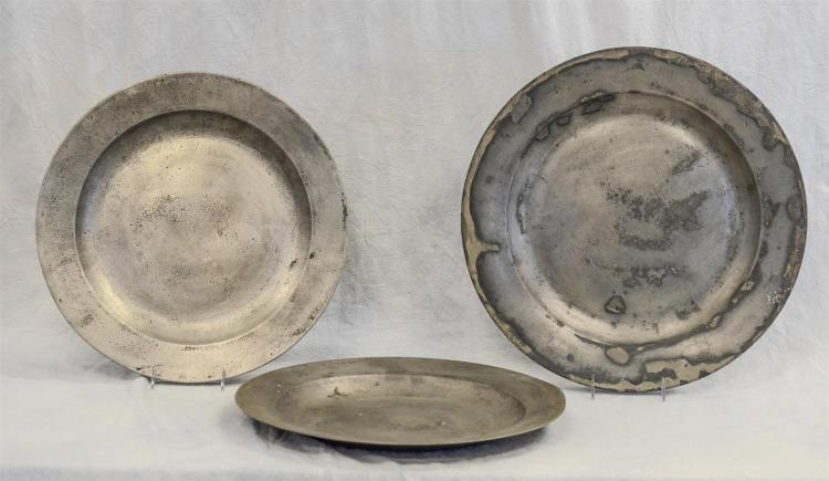 (3) 18th c English pewter chargers, 16 1/2