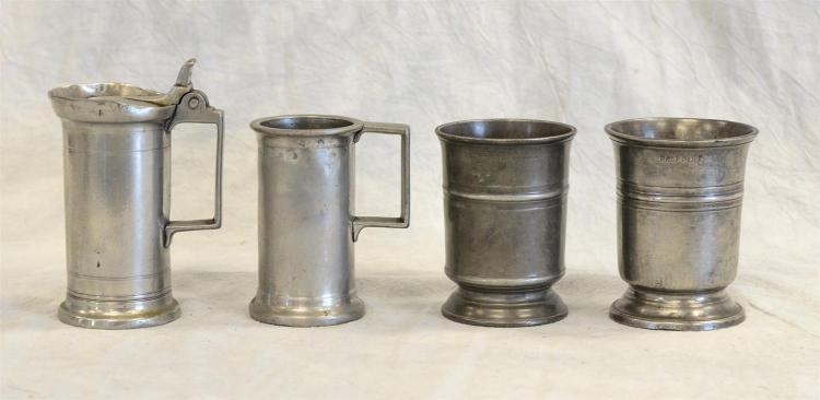 (4) 1/2 pt - 1/4 litre pewter measures, 19th c, tallest 5 1/2
