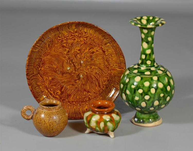 (4) Tang style Sancai pieces to include a vase, a small footed pot, bird feeder and plate, vase is 7