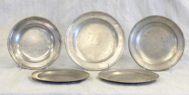 (5) 18th c English pewter plates, signed, 7 1/2