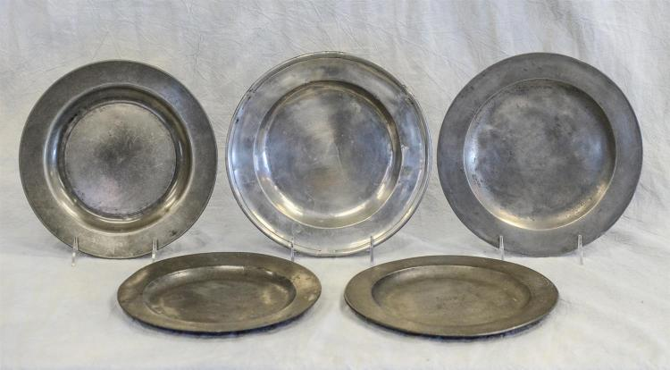 (5) antique English pewter plates, Robert Nicholson, London, w/coat of arms, 9 3/8