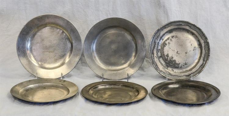 (6) 18/19th c English pewter plates, signed, 9 1/2