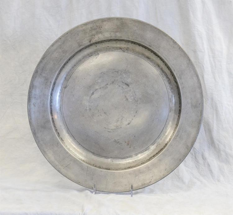 18th c pewter charger, Thomas Barrow, Liverpool, c 1700-30, 18 1/2