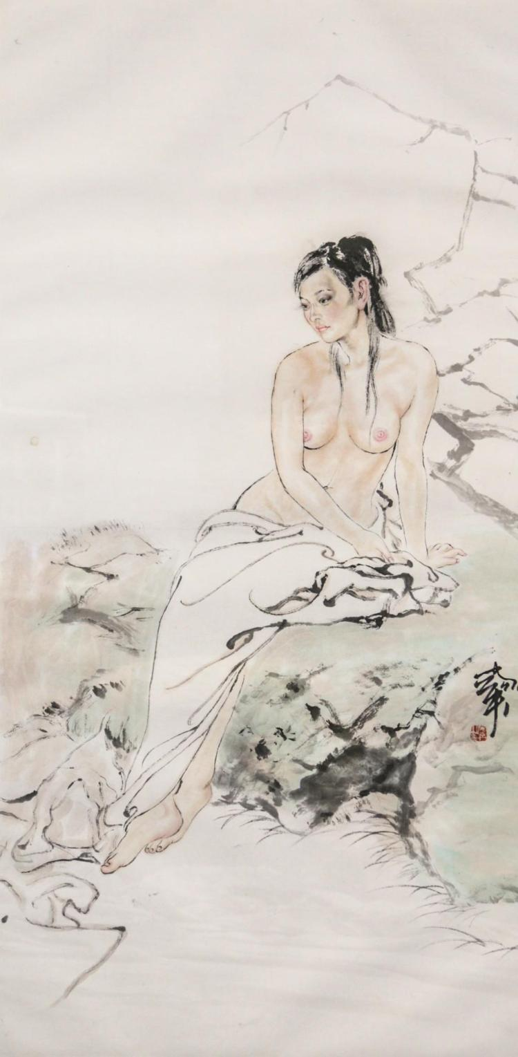 Chinese framed contemporary painting of a nude, signature lower right, approximately 14