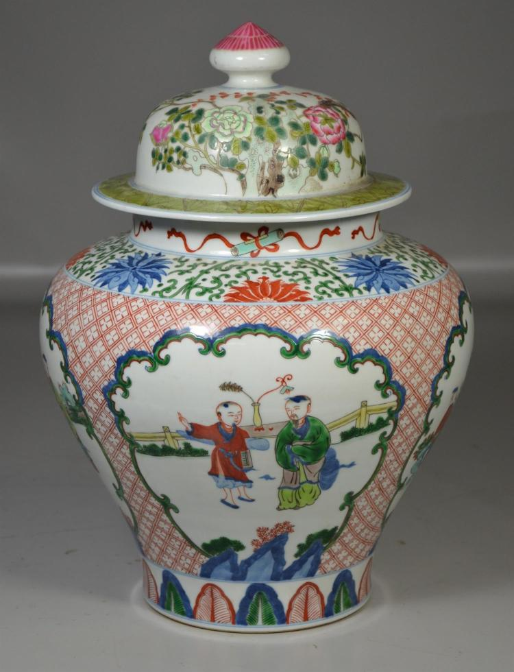 Chinese Wucai vase unmarked with a later mismatched lid, 15 1/2