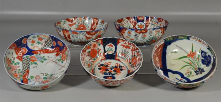 Five (5) Japanese Imari bowls, largest 8