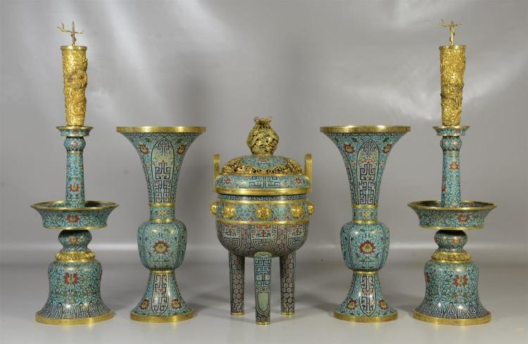 Five (5) piece Chinese cloisonne garniture set to include a pair of candlesticks, pair of beaker vases and an incense burner with gi...