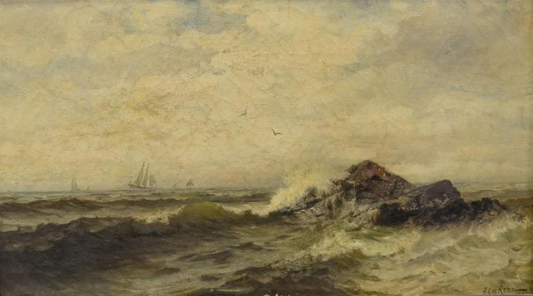 Frank Knox Morton Rehn, American (1848-1914), seascape painting, sailboats on rocky coast, oil on canvas, signed