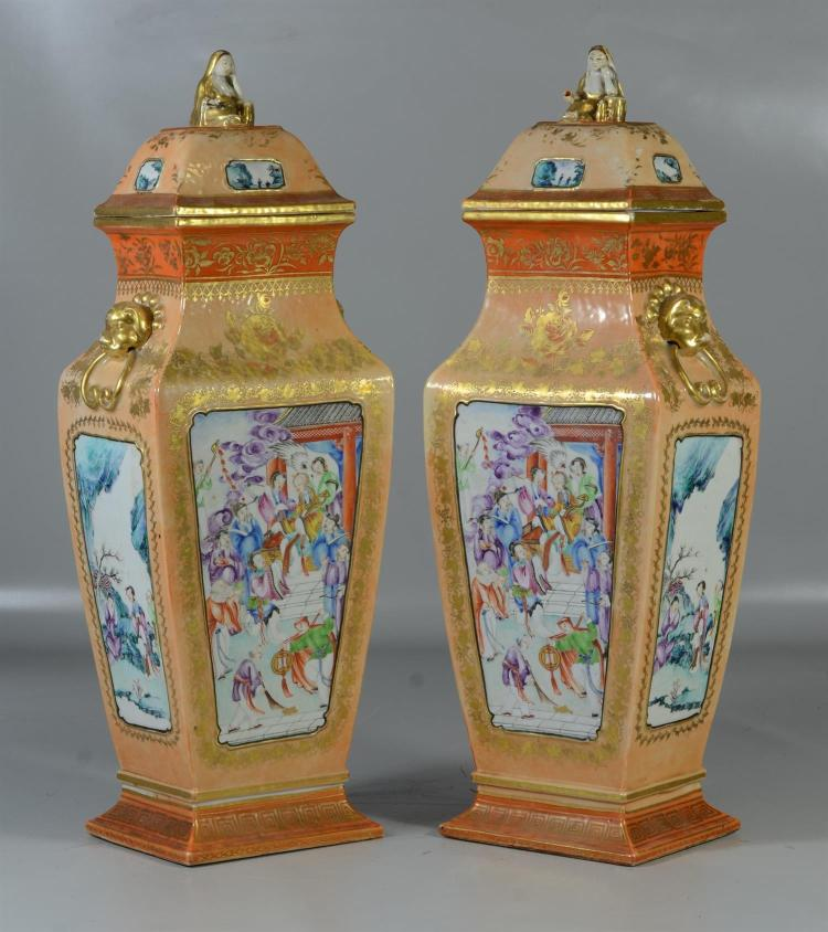 Important pair of Chinese export Mandarin covered mantle vases, heavily gilded, each with four (4) panels of garden scenes, warriors...