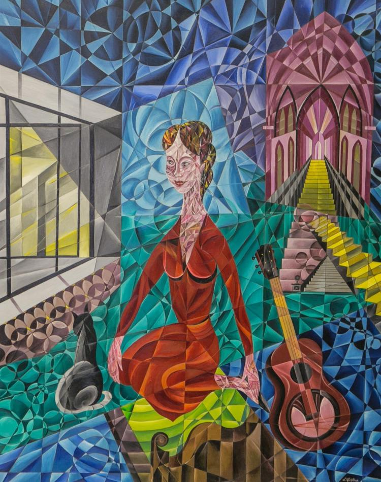J Nicotina, Cubist painting of a gypsy,