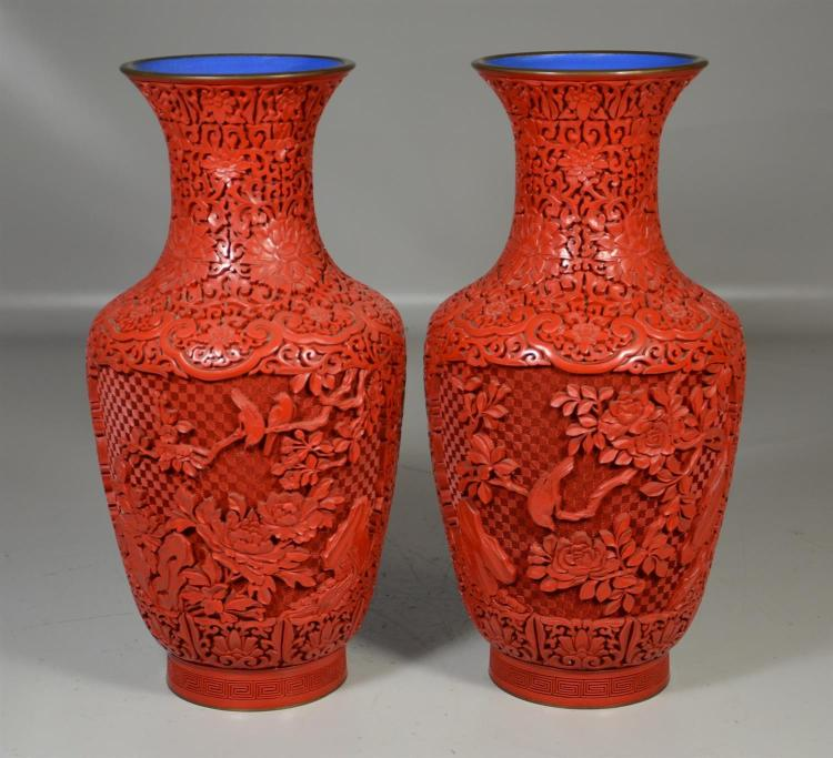 Pair of Chinese carved cinnabar lacquered vases, floral decorated with birds and branches, 14 1/2