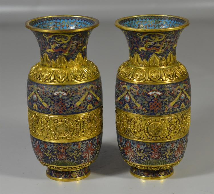 Pair of Chinese cloisonne and gilt bronze vases with 5 character mark to base, 8