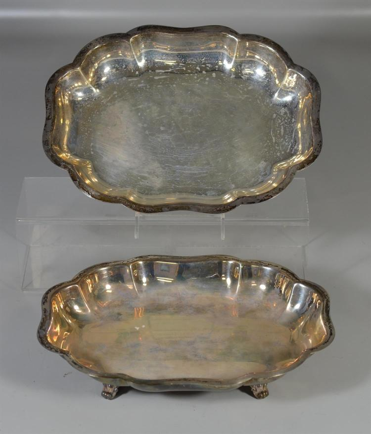 Pair of sterling footed open vegetable dishes marked Durham sterling, 12