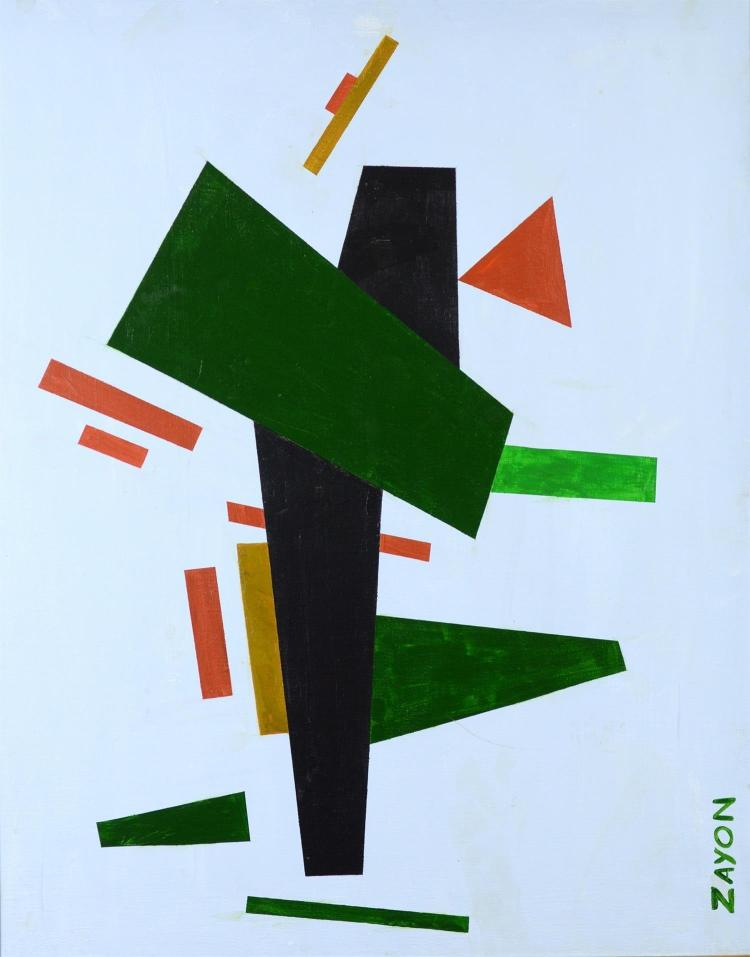 Seymour Zayon, American, b 1930, acrylic, canvas, Geometric Abstract, 16
