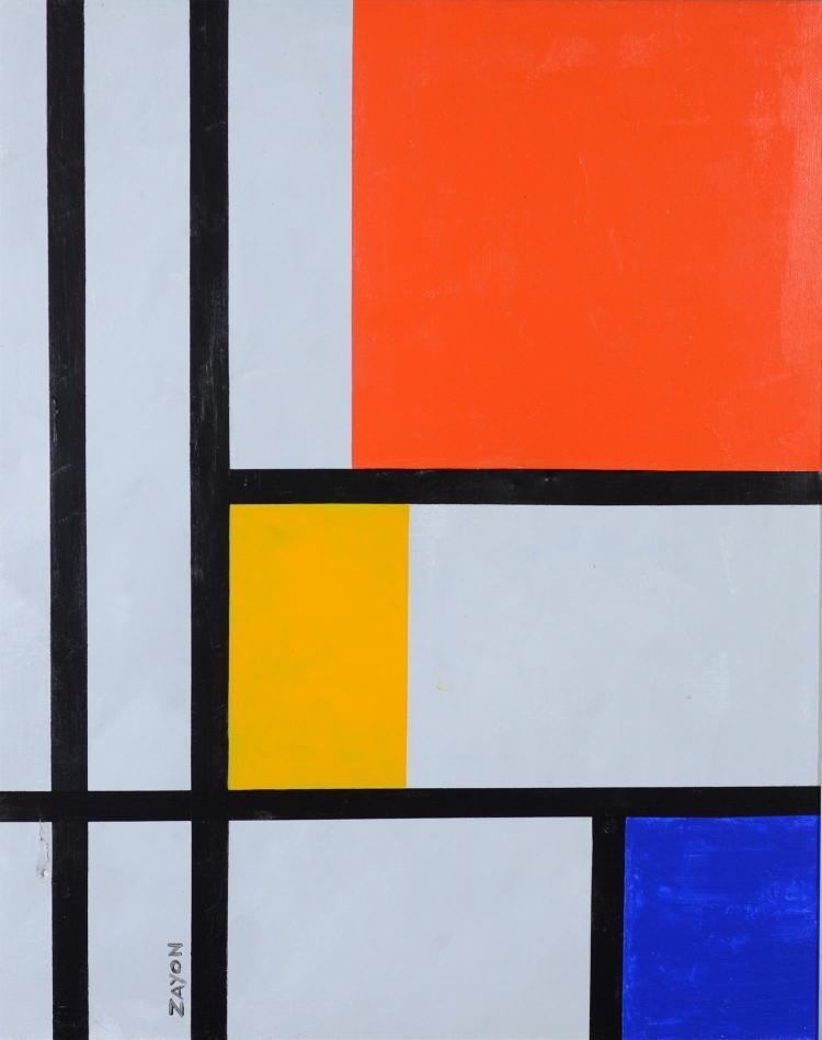Seymour Zayon, American, b 1930, acrylic, canvas, Geometric Abstract, 16