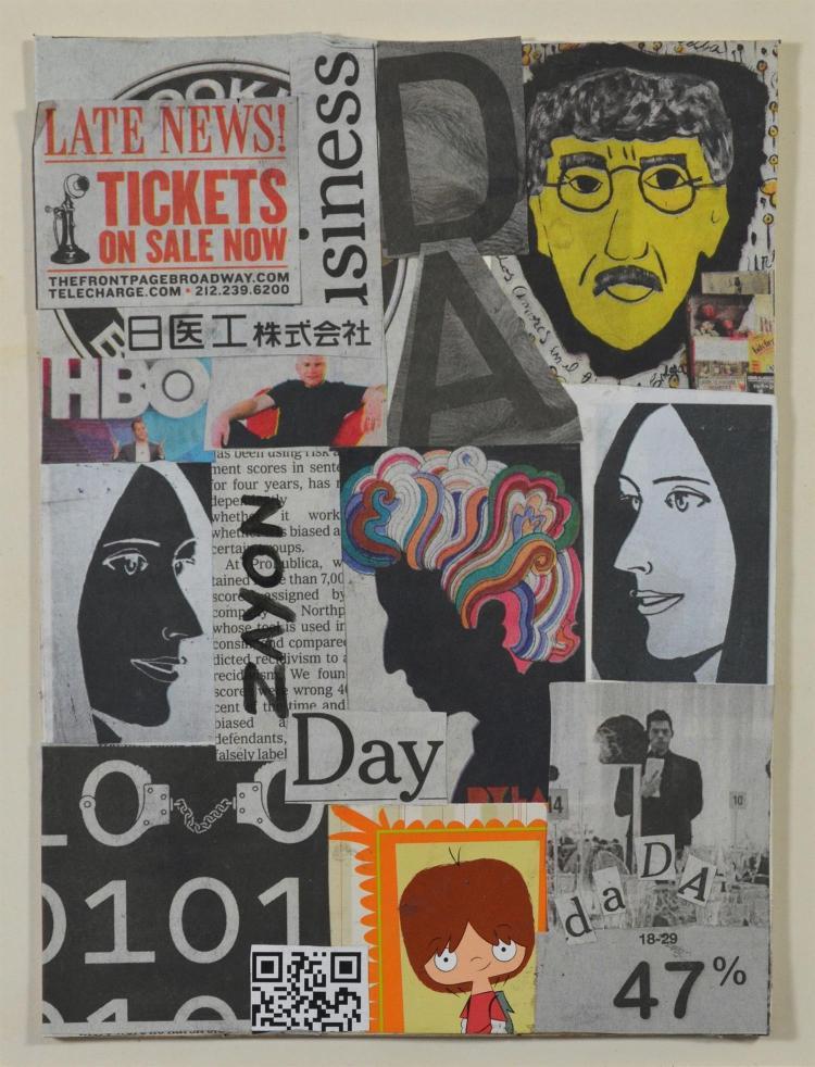 Seymour Zayon, American, b 1930, mixed media/collage, 8