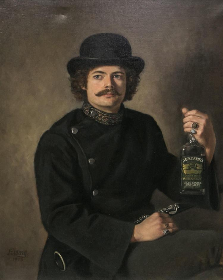 William Ewing, American 20th c, portrait of man in Union garb holding clarinet and bottle of Jack Daniels, oil on canvas, signed Ewi...