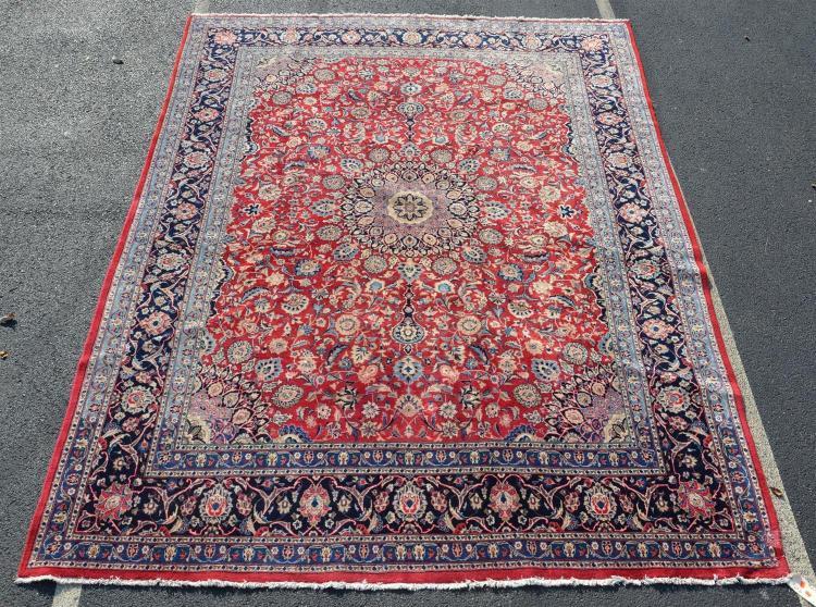 Red Mahal rug, moth damage to corner, 9''6