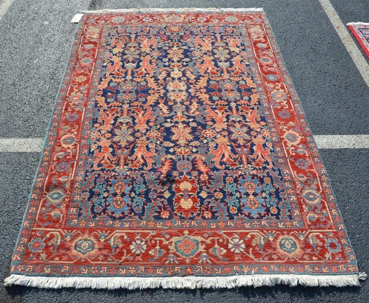 Caucasian style rug, moth damage, 4''9