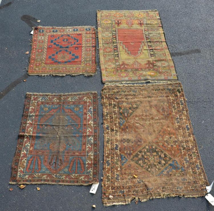 4 Turkish/Caucasian throw rugs, wear and damage, Prayer Rug 3''7