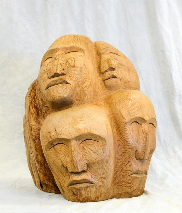 Carved Northwest Coast totem mask sculpture, later 20th c, 17