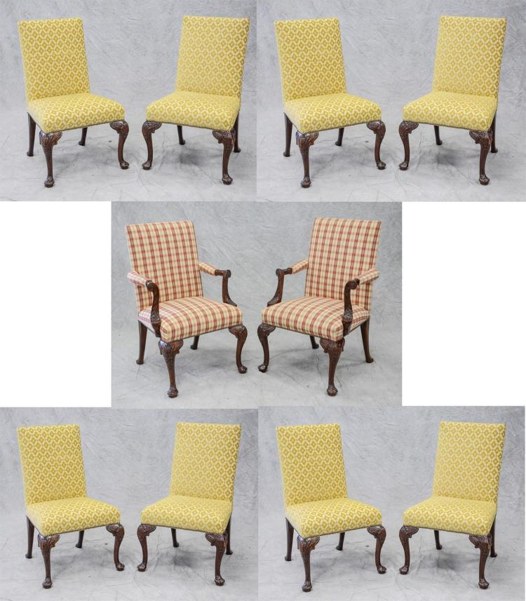 (10) mahogany Queen Anne style DR chairs, cabriole legs with carved knees and pad feet, upholstered back and seats, 2 with arms, 39