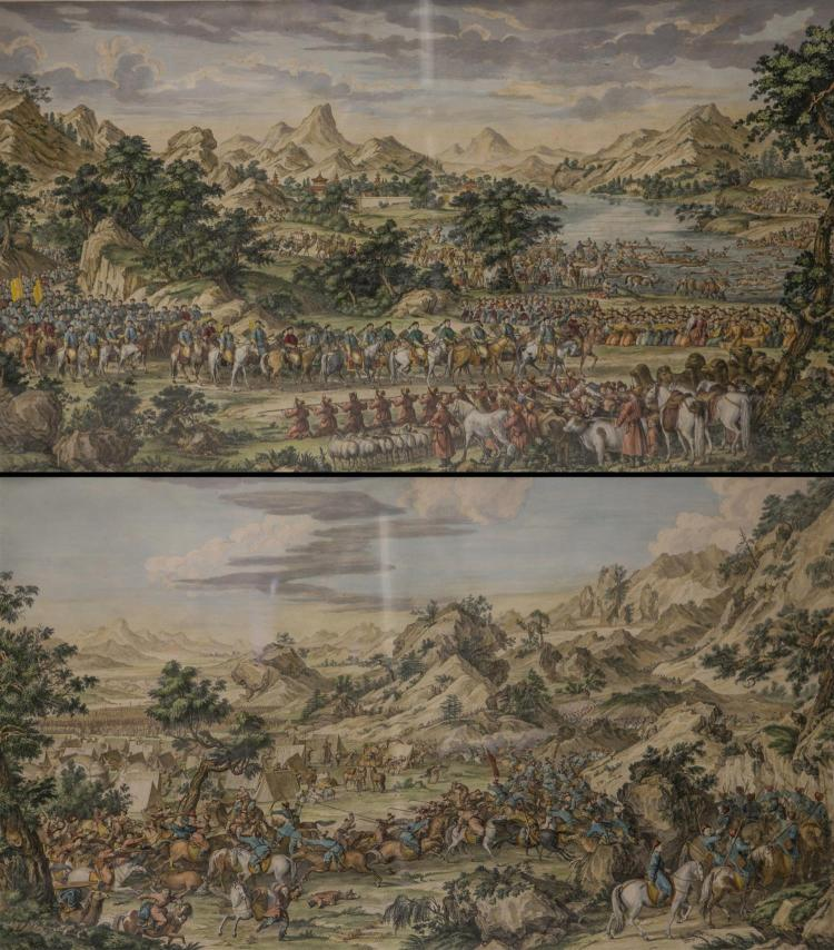 (2) handcolored engravings of Emperor Qianlong''s Conquest dated 1769, one inscribed
