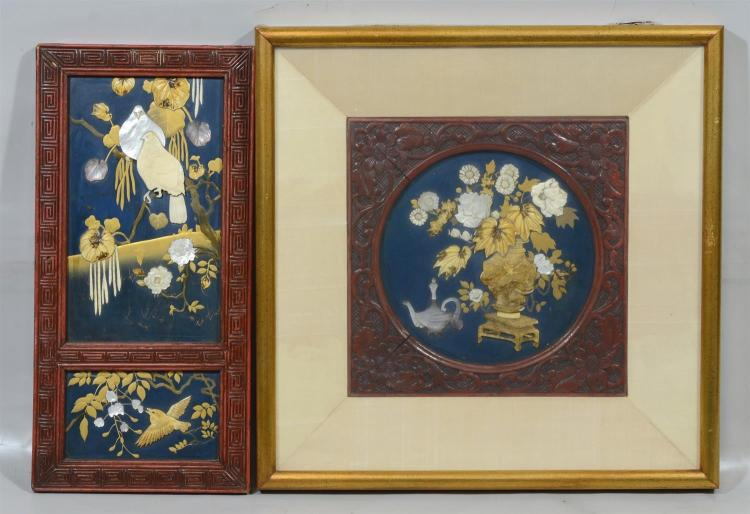 (2) Japanese framed plaques finely inlaid with ivory and Mother of Pearl, bird plaque overall 15