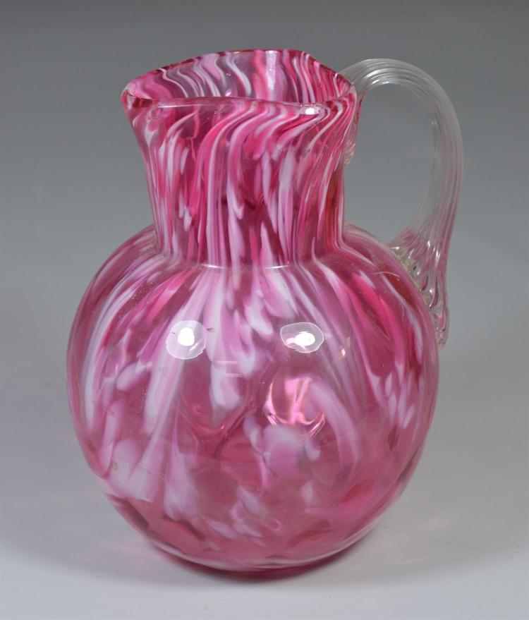 Pink and white end of day glass pitcher, 8