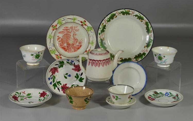 11 pieces of English soft paste, sprig, Leeds and more to include an Enoch Wood turkey plate, three (3) saucers, four (4) cups, a ch...