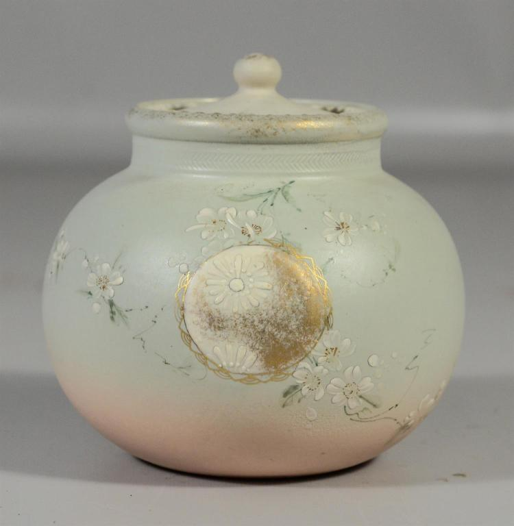 Rookwood matte dresser jar with reversible lid, gilt and enameled floral decoration, form 232D, c 1898, impressed W as well, 4 1/2