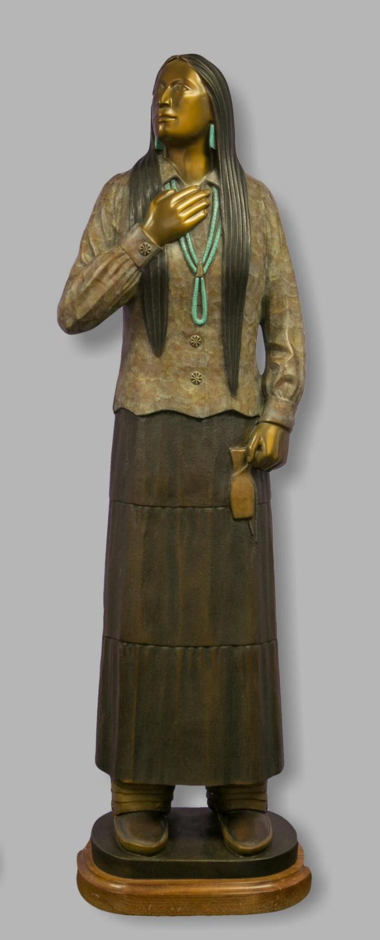 Larry Yazzie, Arizona, 20th c, polychrome bronze sculpture of Native American Woman, 47