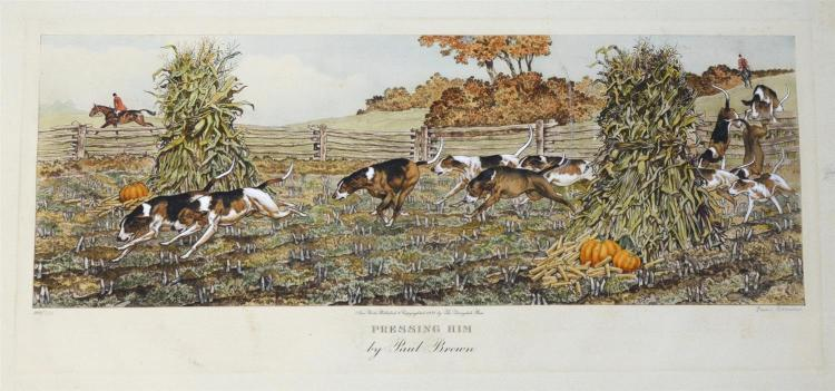 Paul Brown, American, 1893-1958, hand colored aquatint,