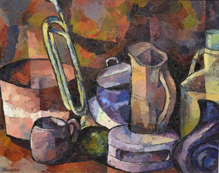 R Shapiro modern still life painting with pitcher and trumpet, Wilmington, Delaware artist, oil on canvas, signed