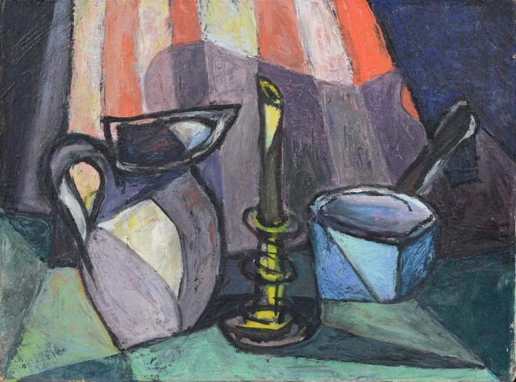 R Shapiro modern still life painting with pitcher and candlestick, Wilmington, Delaware artist, oil on canvas, signed