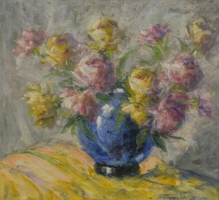Leonid Gechtoff, American (1883-1941), still life pastel on paper, vase with flowers, signed L. Gechtoff ''39 lower right, sight size..