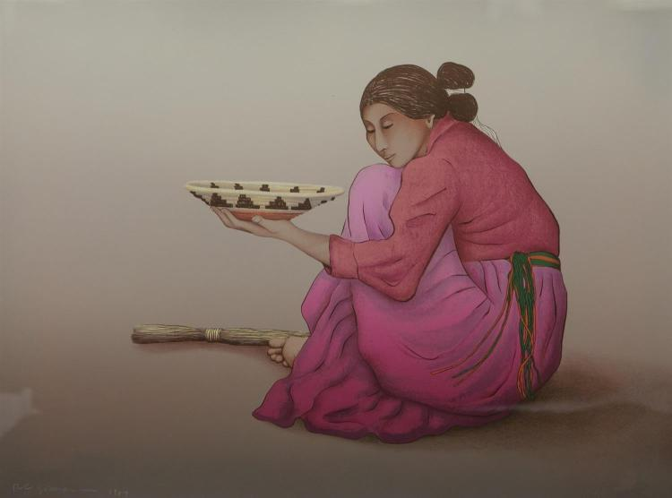 R C Gorman, Navajo (1932-2005), framed lithograph on paper of woman with bowl, signed R C Gorman 1987, No. 76/200, sheet size 25