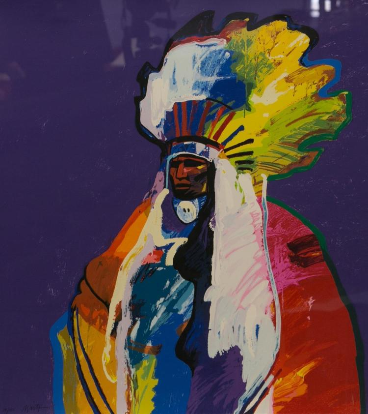 John Nieto, Native American 20th c, serigraph,