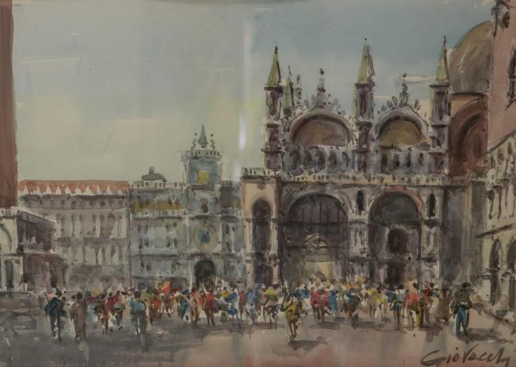 Italian watercolor of St Mark''s Square, indiscernible signature, watercolor on paper, sight size 18 3/4