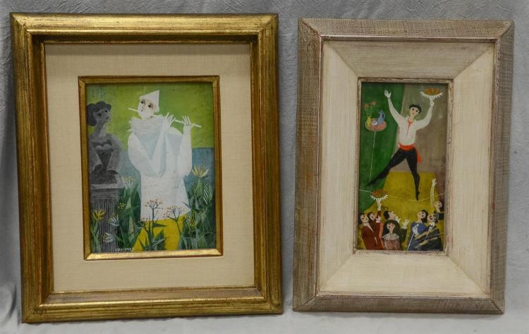 Pair of Ernst Graupner, French (1917-1989), reverse paintings on glass, signed Graupner, sight size 9