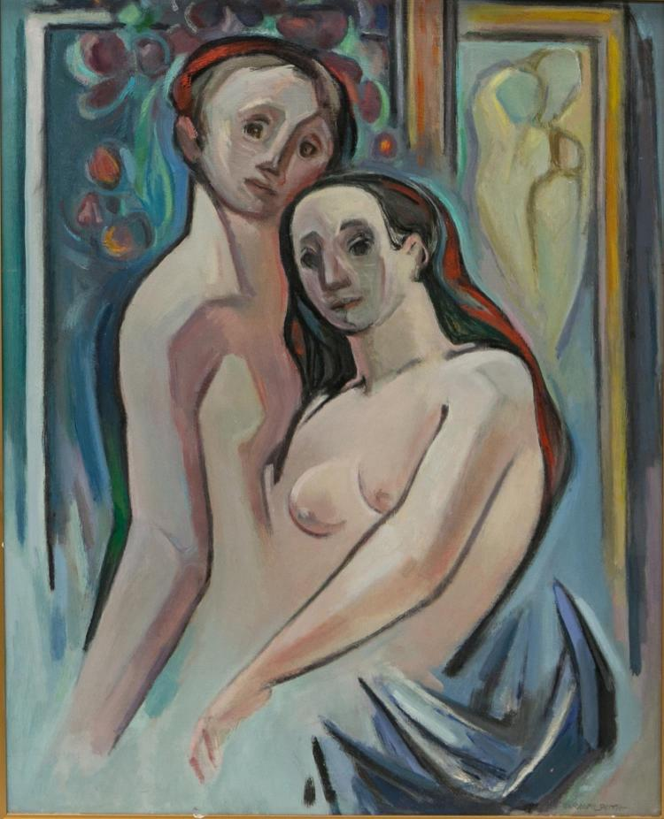 G Ralph Smith, American 20th c, painting of a nude couple,